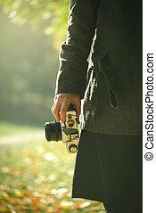 hipster, femmina, fotografo, esplorare, autunno, natura, scenario