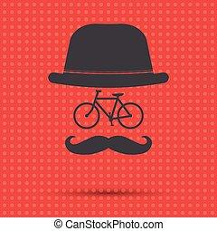 hipster, fiets, illustratie