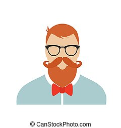 Hipster flat character isolated on white background