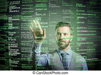 hipster, forretningsmand, hos, virtuelle, skærm