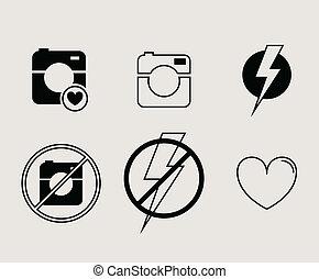 hipster, foto, of, grafische camera, pictogram, minimalism, stijl, plat, ontwerp