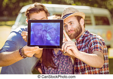 Hipster friends taking a selfie