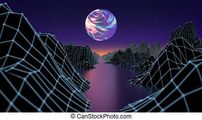 Hipster game from 80's cyber futuristic motion graphics. Digital oldschool game landscape wave animation with moon and space mountains. Laser grid on terrain surface moving in a cyber world. Seamless loop animation.