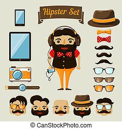 hipster, garçon, éléments, caractère, nerd