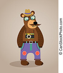 Hipster geek animal teddy bear
