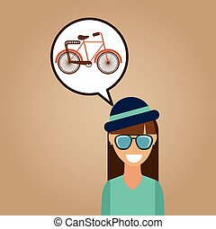 hipster girl bicycle vintage background icon