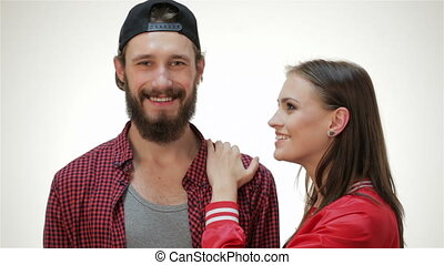 Hipster girl kiss bearded man