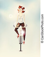 Hipster girl riding a bike on blurr
