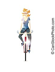 Hipster girl riding a bike on white