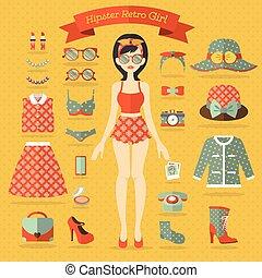 hipster, girl, vecteur, ensemble