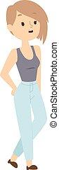 Hipster girl vector illustration.