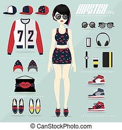 Hipster girl vector set