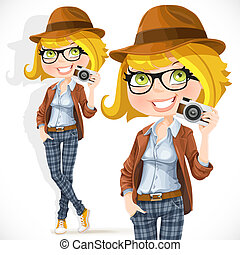 Hipster girl with a camera isolated on white background