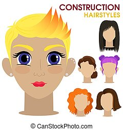Hipster girl. Woman face constructor. Cartoon style.