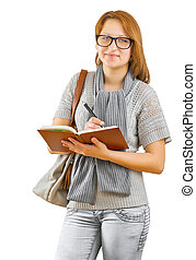hipster girl writing in notepad