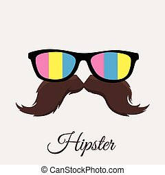 Hipster glasses and moustache