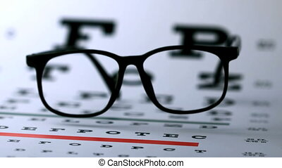 Hipster glasses falling onto eye test