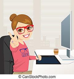hipster, graficzny projektodawca, kobieta, pracujący