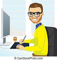 Hipster Graphic Designer Man Working - Happy hipster fashion...