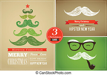 Hipster greeting cards Merry Christmas - Hipster greeting...
