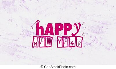hipster, grunge, intro, année, heureux, nouveau, arrière-plan animation, texte