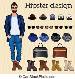 Hipster vintage character pack design elements for male guy with accessory and clothing isolated vector illustration
