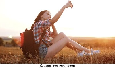 Hipster hiker silhouette girl traveler rest rest slow motion...