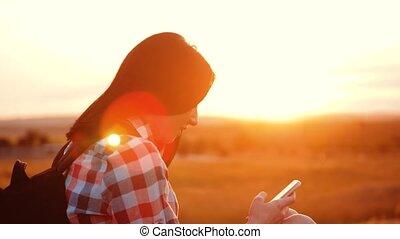 Hipster hiker silhouette girl traveler rest rest slow motion...