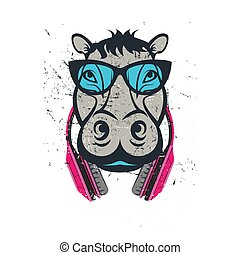 HIPSTER hippo print for t-shirt