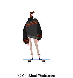 hipster, i, skateboard., modny, facet, z, beard., fashion-monger, i, longboard