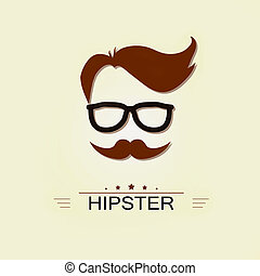 Hipster icon avatar, retro style logotype, insignia vintage design template.