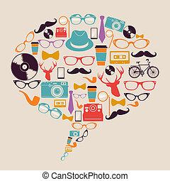hipster, iconen, media., retro, sociaal