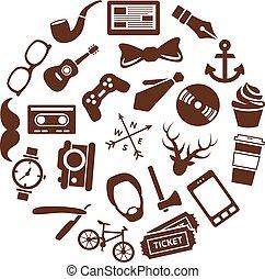 hipster, iconos, en, círculo