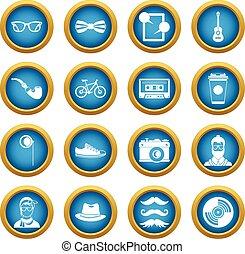Hipster icons blue circle set