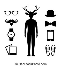 Hipster Icons Set with Deer Man Silhouette. Vector