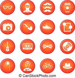 Hipster icons vector set