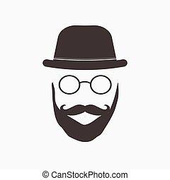 hipster, illustratie, bril