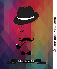 Hipster Illustration on Triangle Background - Vector Hipster...