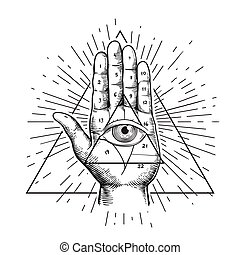 Hipster illustration with sunburst, hand, and all seeing eye symbol nside triangle pyramid. Eye of Providence. Masonic symbol. Grunge Esoteric spiritual ethnic mascot. t-shirt design