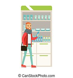 Hipster In Scarf In Pharmacy Choosing And Buying Drugs And Cosmetics,