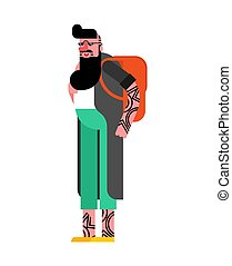 Hipster isolated. Fashionable look. Bearded fashion-monger. ...
