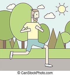 hipster, jogging, parc, caucasien, homme