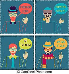 hipster, kaarten, in, retro, style.