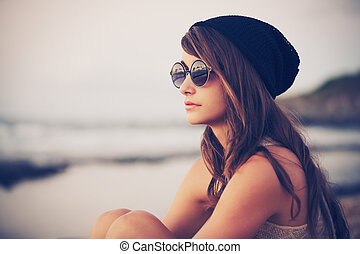hipster, kobieta, fason, młody