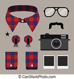 hipster, konstruktion, sæt, mode, element