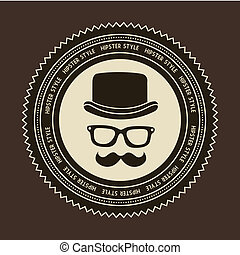 hipster label over brown background, old style. vector
