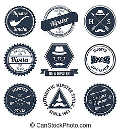 Hipster labels set - Hipster smoke original authentic style...