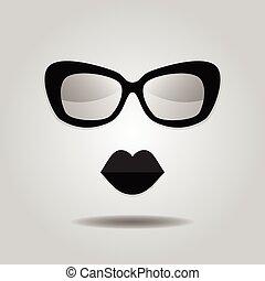 hipster, labios, y, gafas de sol, iconos