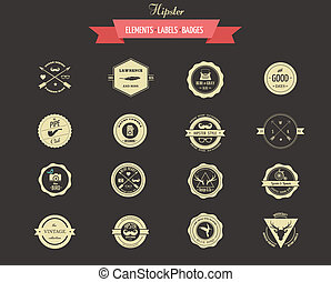 Hipster lables, badges and elements - Hipster lables, badges...