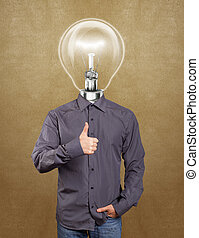 Hipster Lamp Head Man Shows Well Done - Hipster lamp head...